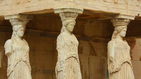 Marble statues of strong women supporting the roof, inhumane treatment of women Footage