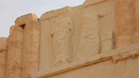 Remains of sculptured relief on ancient temple, cultural heritage preservation Footage
