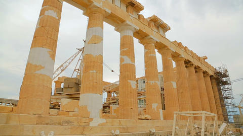 Restoration works at ruins of ancient Parthenon temple, world cultural heritage Footage