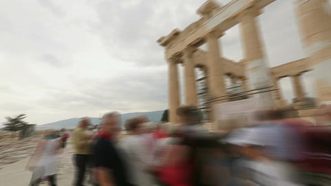Time-lapse of tourist looking at ancient historic sites, sightseeing attraction Footage
