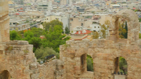 Ruins of ancient stone facade at mediterranean resort city, cultural heritage Live Action