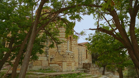 Ancient Holy Apostles Church in Athens, antique religious sanctuary, heritage Live Action