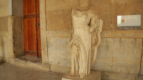 Goddess Aphrodite marble statue remains at Agora Archaeological Museum, Athens Footage