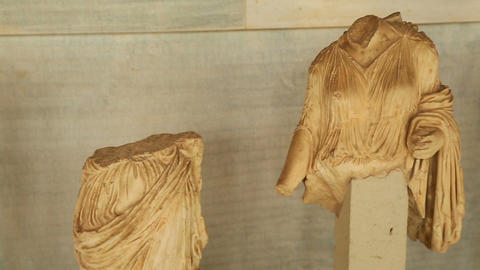 Remains of antique marble female statues found during archaeological excavations Footage