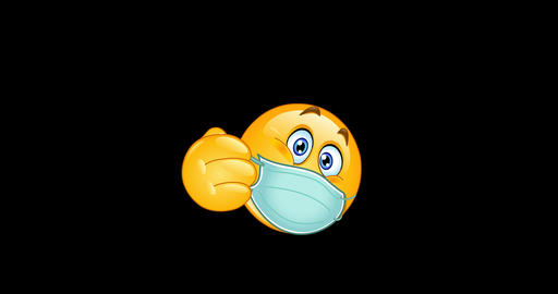 Thumb up emoji emoticon with medical mask animation Animation