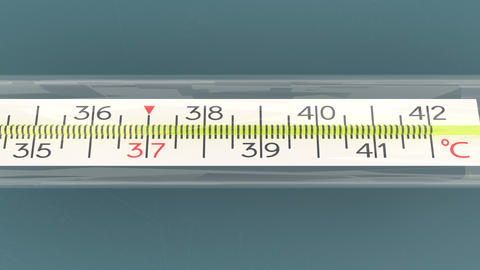 Mercury thermometer isolated and from different angles, temperature checking Animation