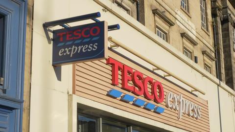 Tesco Supermarket in Edinburgh - EDINBURGH, SCOTLAND - JANUARY 10, 2020 Live Action