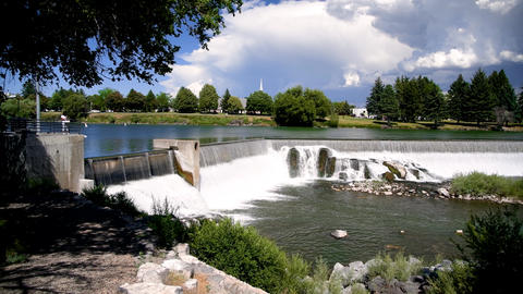 Idaho Falls, Idaho. River and city waterfalls on a beautiful summer day Live Action