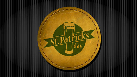 st patrick day commercial idea for bar with lettering written around beer drawn on rounded leather Animation