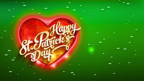 cheerful st patricks day calling cover with orange gemstone heart with lightning of light over green Animation
