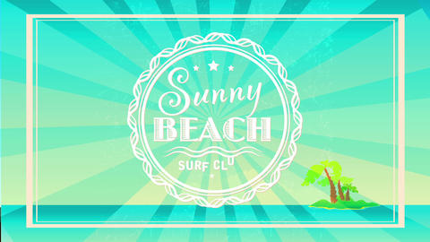 vintage sunny beach surf club concept with a small island in middle of the ocean reminiscent of Animation