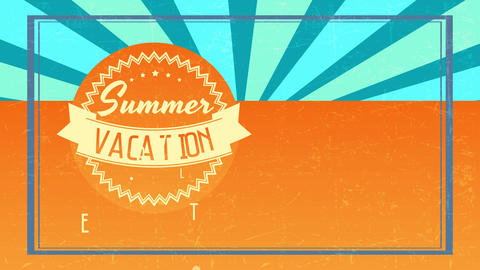 summer vacation tour written with diverse script offset inner zigzagged graphic over retro scene Animation