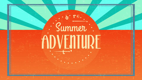 summer adventure tours written with different vintage typography inside dotted circle giving 60s Animation