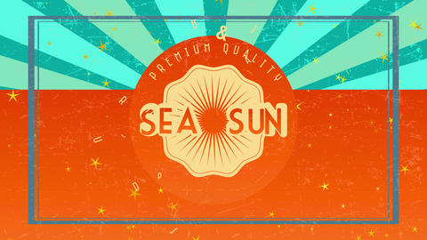 fancy quality sea and sun summer eden written on orange disk pasted towards background of same color Animation