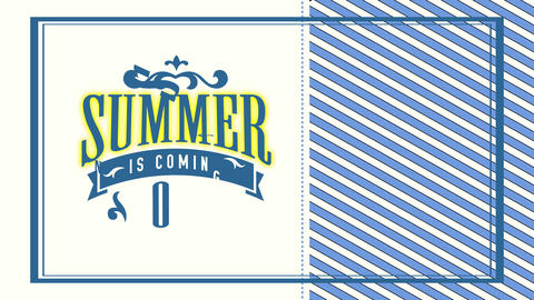 summer is arriving quick written with classical typography with antique ornamental sketch in scene Animation