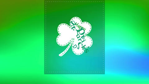 happy st patricks day text inside clover on trimming layer on green background designed for greeting Animation