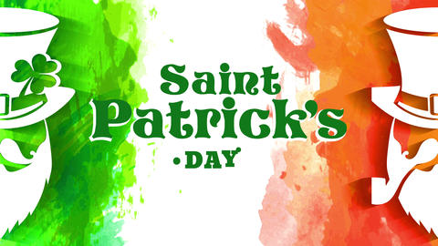 original st patricks day concept for holiday promotion with two leprechauns painted with green and Animation