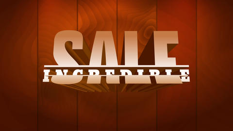 incredible sale ad with prominent golden graphics over brown wooden floor for commerce related Animation