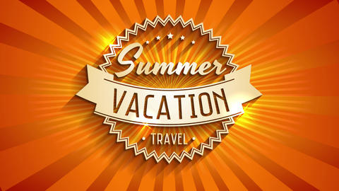 summer vacation travel written with 3d typography on sunshine background made for tourist agency or Animation