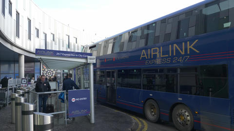 Airlink Express Bus service at Edinburgh Airport - EDINBURGH, SCOTLAND - JANUARY Live Action