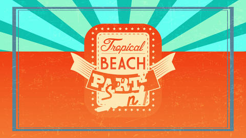 tropical beach party soon announcement text written on rectangular monochrome layer surrounded by Animation