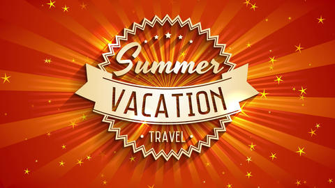 summer vacation travel written with 3d offset on shine background crafted for pioneer corporation or Animation