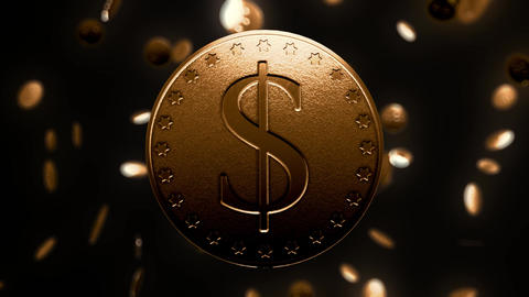 Shiny gold dollar coin Live Action