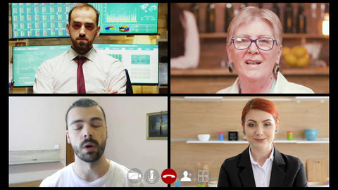 Group of people using Video conferencing app while working from home Live Action