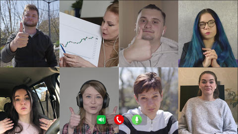 Eight people rejoicing success of business in online video chat. Multiscreen of Live Action