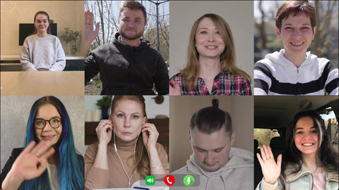 Multiscreen of eight colleagues greeting each other in video chat. Caucasian men Live Action