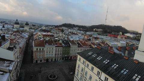 FPV drone flies around the town hall, Rynok Square, Lviv, Ukraine. Flock of Live Action