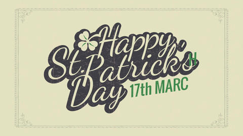 happy saint patricks day typography concept for holiday date reminder and celebration party using Animation