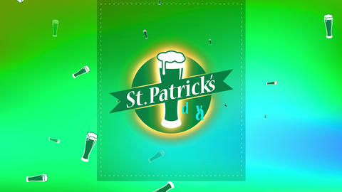 st patricks day brew presentation with spotted lines for trimming and brew glassware overflowing Animation