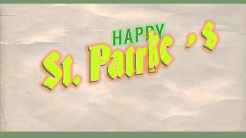 smiling st patricks day advert with good chance green shamrock and over elderly paper texture Animation