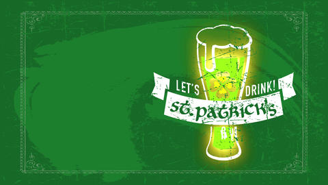 english brew banquet invitation for st patricks day with brew glass flooding with froth over Animation