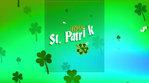satisfied st patricks day written on a green trimming layer with lucky clover sketch representing Animation