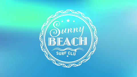 travelling agency old school style theme with rounded icon surrounding sunny beach surf club over Animation