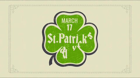 holiday date reminder with march 17 st patricks day written inside four leaf clover graphic Animation
