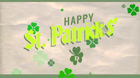 joyful st patricks day advertising with excellent fortune green shamrock and over elderly cardboard Animation