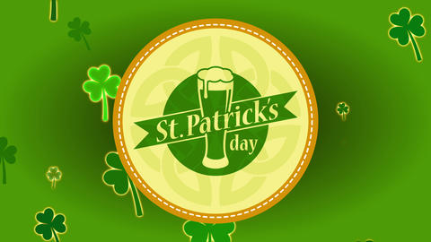 st patricks day brew badge over oval design with clipping lines and clear celtic shield knot Animation