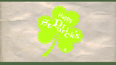 happy st patricks day green clover for trimming drawn above creased paper texture background with Animation