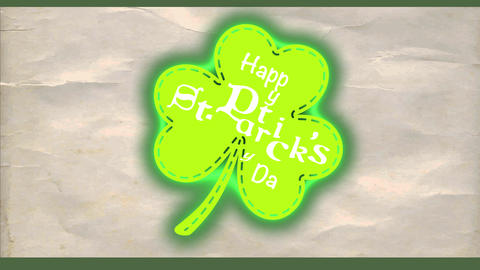 joyful st patricks day green clover for trimming drawn up creased paper texture scene with script Animation