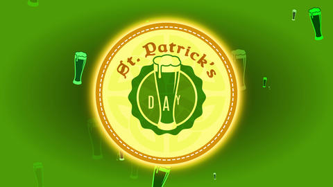 st patricks day drink coaster mind with full brew glass graphical celtic shield and trimming edge Animation