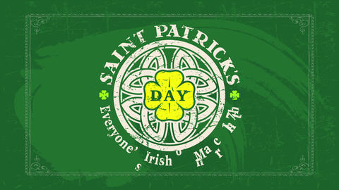 saint patricks day celebration promotion with traditional message everyone is irish on march 17 on Animation