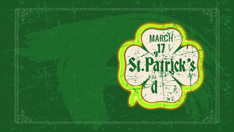 smiling march 17 st patricks day celebrating announcement with decolorized clover surrounded by Animation