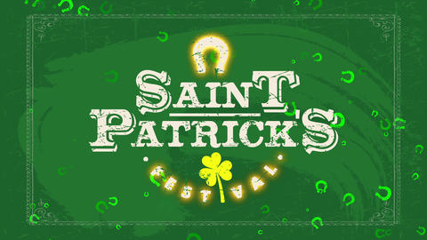 saint patricks day carnival billboard print for vacation advertisement with faded color and a clover Animation