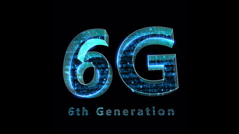 6G Digital Network technology 6th generation mobile communication concepts Background 0 F1 blue 4k Animation