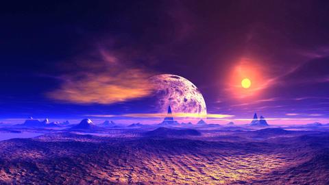 Alien Landscape and Huge Planet Animation