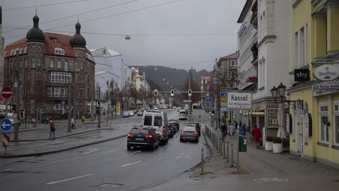 SLOW MOTION: Cars in Traffic, Traffic Light on Rayni Road in Kassel, Germany Live Action
