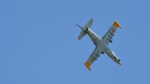 Slow Motion of Military L-39 Jet Trainer and Light Combat Aircraft in Flight Live Action